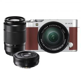 Fujifilm X-A3 Brown w/ XC16- 50mm, XC50-230mm & XF27mm Lens Compact System Camera
