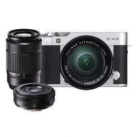 Fujifilm X-A3 Silver w/ XC16- 50mm, XC50-230mm & XF27mm Lens Compact System Camera