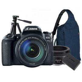 Canon EOS 77D w/EFS 18-55mm, EFS 55-250mm, EF50mm lens DSLR w/Tripod, Bag & Bonus Battery