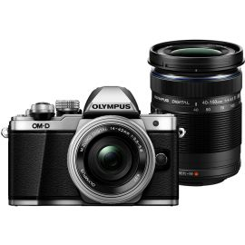 Olympus OM-D E-M10 Mark II w/14-42mm & 40-150mm EZ Lens Silver Compact System Camera