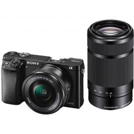 Sony Alpha A6000 w/16-50mm & 55-210mm f4.5-6.3 Zoom Lens Compact System Camera