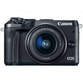 Canon EOS M6 Black w/EF-M 15-45mm f/3.5-6.3 IS STM Lens Compact System Camera